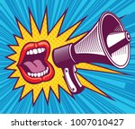 girl mouth with megaphone.... | Shutterstock .eps vector #1007010427