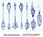 ballpoint pen feathers and... | Shutterstock .eps vector #1007010499