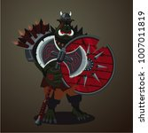 warrior goblin. big green angry ... | Shutterstock .eps vector #1007011819