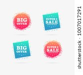 big offer   super sale labels | Shutterstock .eps vector #1007017291