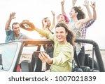 trendy happy friends taking... | Shutterstock . vector #1007021839