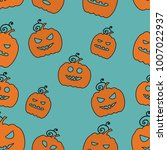seamless halloween pattern with ... | Shutterstock .eps vector #1007022937