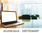 blank laptop screen standing on ... | Shutterstock . vector #1007026069