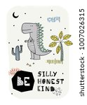cartoon dinosaur poster. vector ... | Shutterstock .eps vector #1007026315