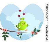 cute green bird jumping on a... | Shutterstock .eps vector #1007030869