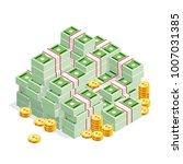 pile of money isolated on white ... | Shutterstock .eps vector #1007031385