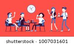 lunch in dining room. group of... | Shutterstock .eps vector #1007031601