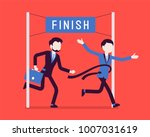 businessmen at finish line.... | Shutterstock .eps vector #1007031619