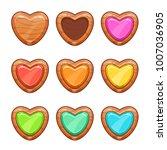 cartoon wooden hearts set....