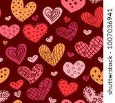 hearts seamless pattern.   Shutterstock .eps vector #1007036941