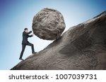 sisyphus metaphore. young... | Shutterstock . vector #1007039731