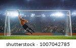 soccer goalkeeper in action on... | Shutterstock . vector #1007042785