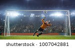 soccer goalkeeper in action on... | Shutterstock . vector #1007042881