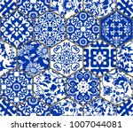 seamless patchwork tile with... | Shutterstock .eps vector #1007044081