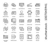 printing house flat line icons. ... | Shutterstock .eps vector #1007045941