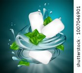 mint flavor gum ad with leaf...   Shutterstock .eps vector #1007046901