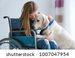 girl in wheelchair with service ... | Shutterstock . vector #1007047954