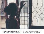 hands catching rail. feeling no ... | Shutterstock . vector #1007049469