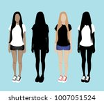 set of girl silhouettes | Shutterstock .eps vector #1007051524