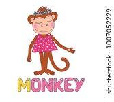 a cute monkey dressed in pink.... | Shutterstock .eps vector #1007052229
