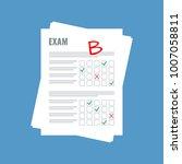 exam sheet with b grade  flat... | Shutterstock .eps vector #1007058811
