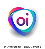 letter oi logo with colorful...