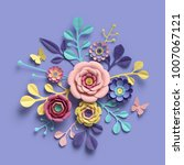 3d rendering  abstract floral... | Shutterstock . vector #1007067121