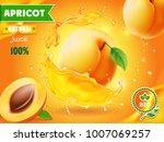apricot fruit in juice splash... | Shutterstock .eps vector #1007069257