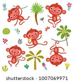 vector set cute monkey and... | Shutterstock .eps vector #1007069971