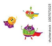 vector flat cartoon funny fruit ... | Shutterstock .eps vector #1007073325