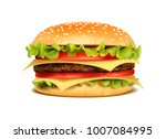realistic hamburger classic... | Shutterstock .eps vector #1007084995