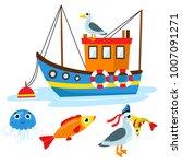 set of boat  fish  seagull ... | Shutterstock .eps vector #1007091271