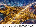 aerial view of big highway... | Shutterstock . vector #1007092645