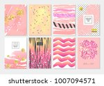 abstract card template set with ... | Shutterstock .eps vector #1007094571