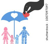 hand pick up heart from family... | Shutterstock .eps vector #1007097097
