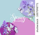 floral bloom spring banner with ... | Shutterstock .eps vector #1007098771