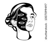vector hand drawn surrealistic  ... | Shutterstock .eps vector #1007099497