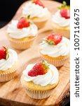 strawberry capcake in a... | Shutterstock . vector #1007116675