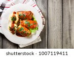 stuffed cabbage with meat and... | Shutterstock . vector #1007119411