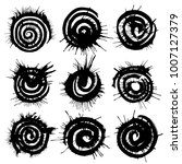 black spiral circles of ink.... | Shutterstock .eps vector #1007127379