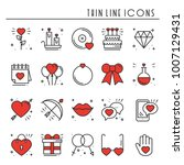 love line icons set. happy... | Shutterstock .eps vector #1007129431