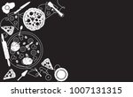 pizza background. black and... | Shutterstock .eps vector #1007131315