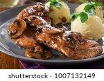 delicious chicken marsala... | Shutterstock . vector #1007132149