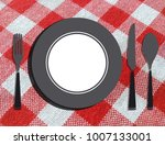 empty plate with fork  knife... | Shutterstock . vector #1007133001