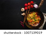 stir fry noodles in traditional ... | Shutterstock . vector #1007139019