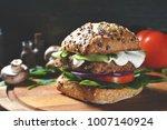 veggie  vegan burger with... | Shutterstock . vector #1007140924