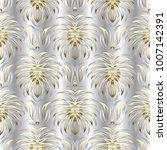silver floral vector seamless... | Shutterstock .eps vector #1007142391