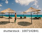 lonely traveler standing on a... | Shutterstock . vector #1007142841