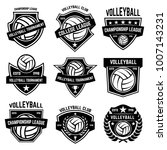 volleyball emblems on white... | Shutterstock .eps vector #1007143231
