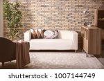 comfortable sofa with pillows...   Shutterstock . vector #1007144749